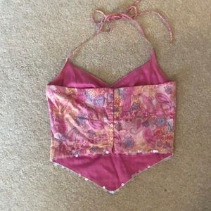 Guess Tops - Pink Paisley Halter Top with Iridescent Sequins
